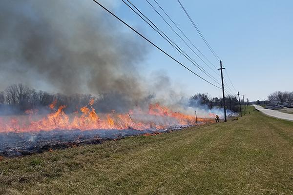 Prescribed burn at Ohio State Lima.