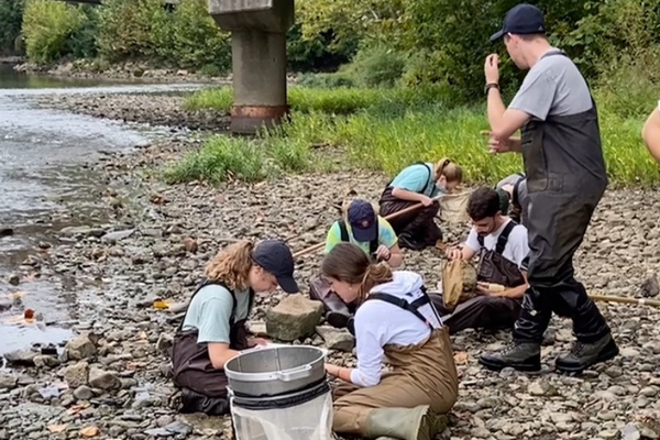 ENR 4345 Methods in Aquatic Ecology students engaged in hands-on learning.