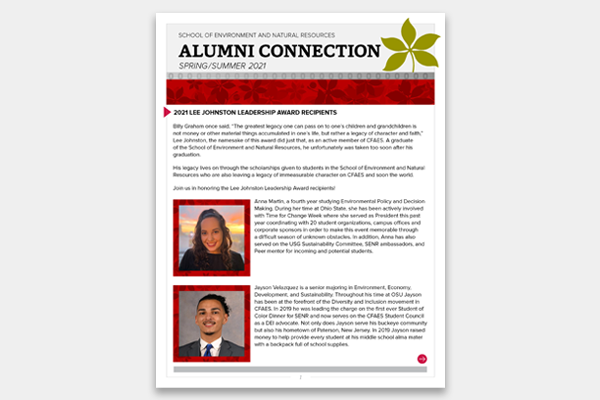 Cover of the latest edition of the ENRAS Alumni Connection.
