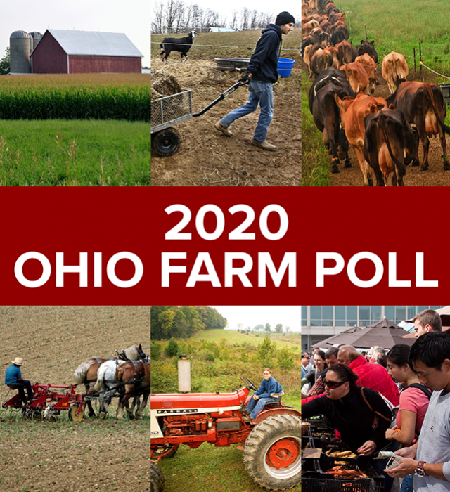 2020 Ohio Farm Poll with images of a barn, goats, cows, horses plowing field, tractor and farmer's market