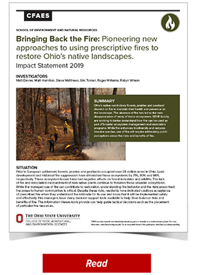 Bringing Back the Fire: Pioneering New Approaches to Using Prescriptive Fires to Restore Ohio's Native Landscapes