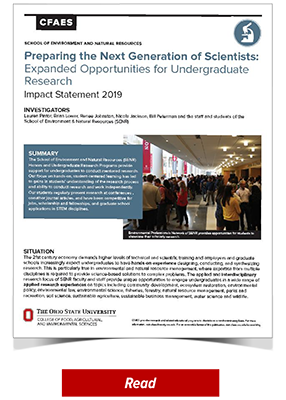 Preparing the Next Generation of Scientists: Expanded Opportunities for Undergraduate Research