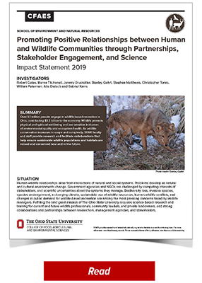 2019 SENR Impact - Promoting Positive Relationships between Human and Wildlife Communities