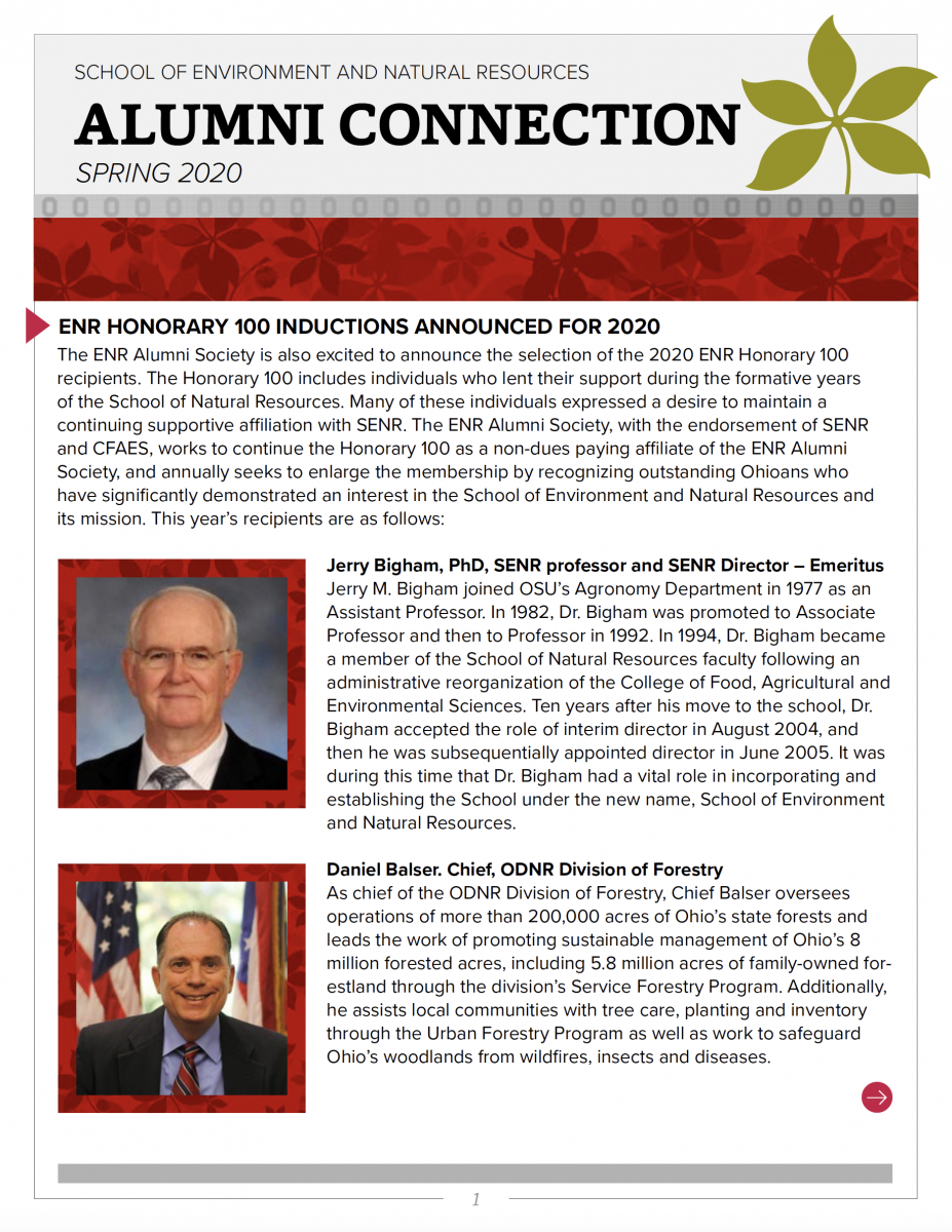 ENRAS Alumni Connection spring 2020 newsletter