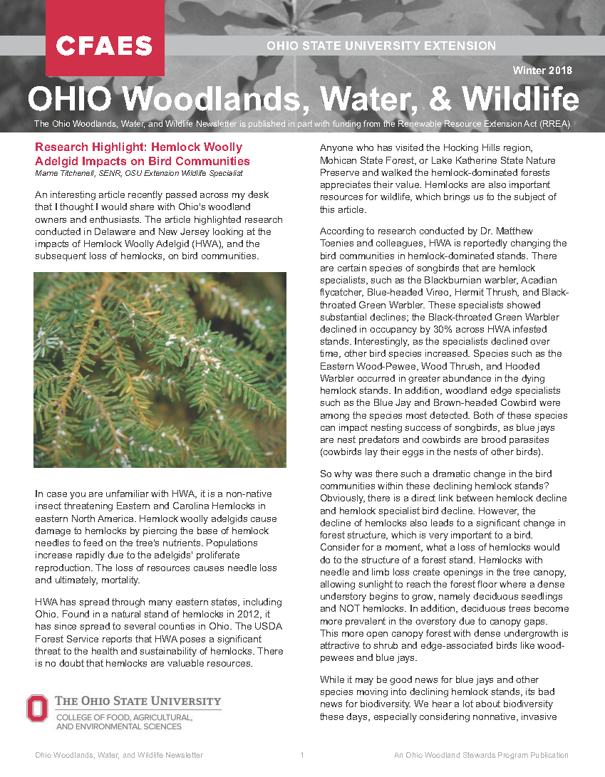 Ohio Woodlands, Water, & Wildlife Newsletter