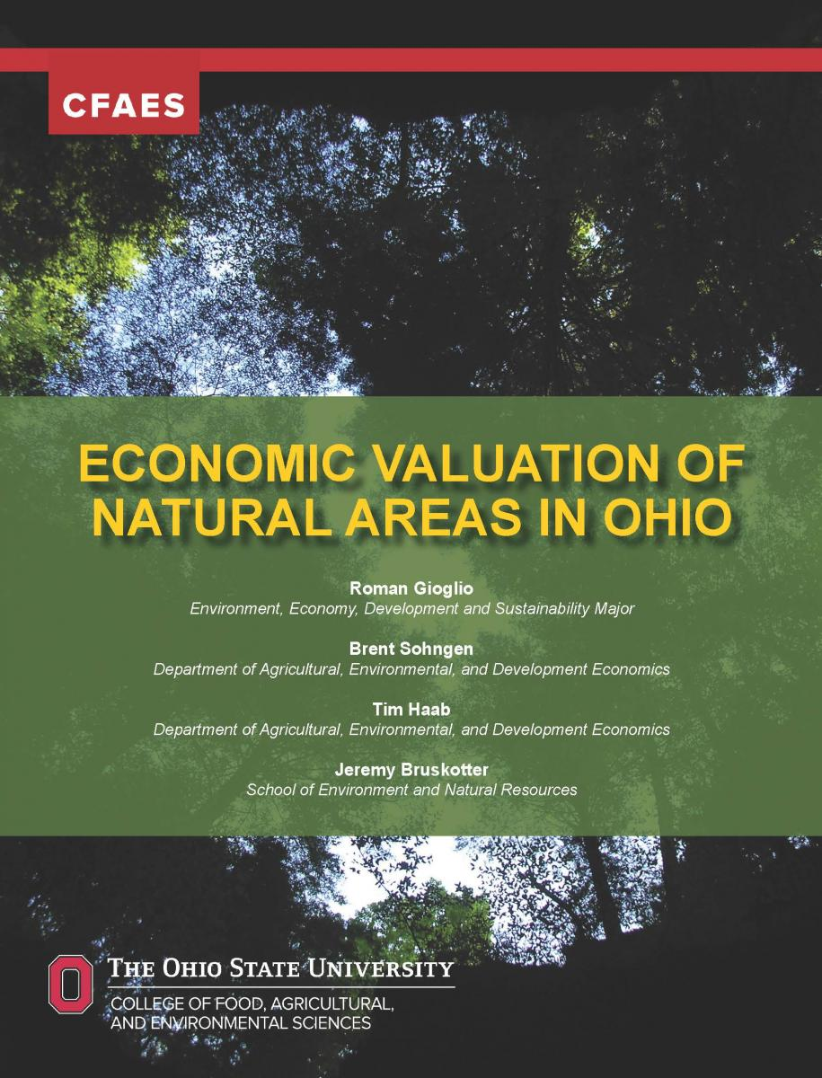"A new Ohio State report, ""Economic Valuation of Natural Areas in Ohio"" released Nov. 20 estimates the ""value"" of outdoor recreation in Ohio."