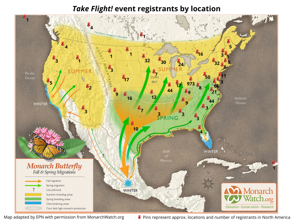 Map of registrant locations for Take Flight!