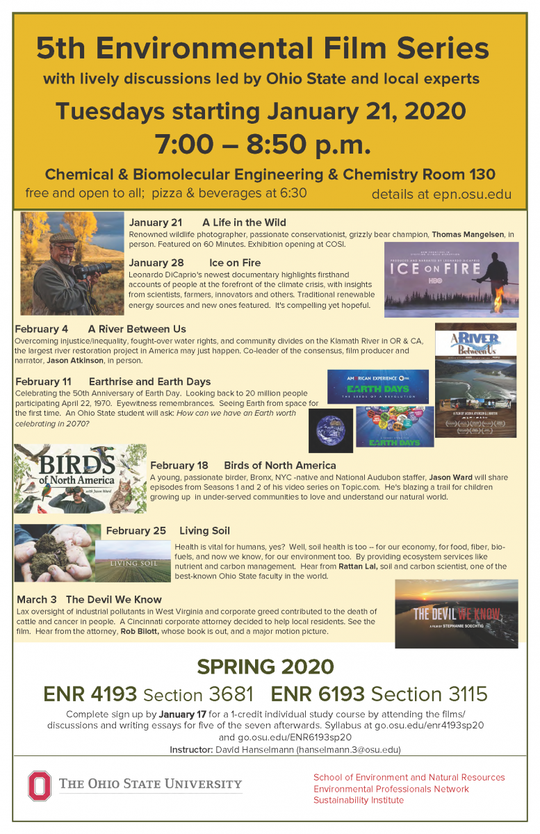 5th Environmental Film Series starts  January 21, 2020