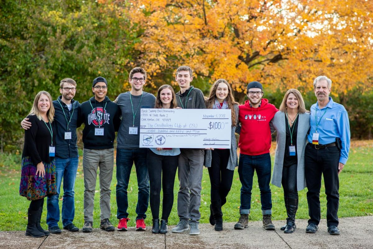 Students in the Ornithology Club received a $1,000 donation from The Ohio Young Birders Club and Black Swamp Bird Observatory for their Lights Out Buckeyes program.  Photo credit: Ethan Rising.