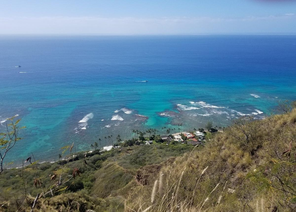 The coast from the overlook at Diamond Head.
