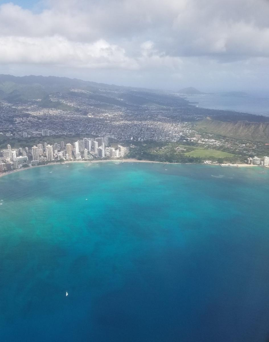 Aerial view of Waikiki Beach. (Photo credit: Kevin Fisher)