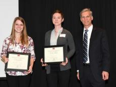 First place poster winner Gretchen Anchor and second place winner Sarah Scott with Associate Dean for Research and Graduate Education Gary Pierzynski.