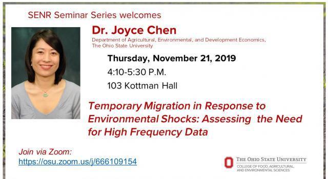 SENR Seminar Series welcomes Dr. Joyce Chen