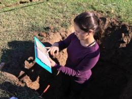Tania Burgos-Hernández, a doctoral student in the School of Environment and Natural Resources is studying Ohio State soils to determine their ability to store carbon.