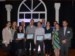 2016 Lee Johnston Leadership Award recipients with School of Environment and Natural Resources Alumni Society representatives.