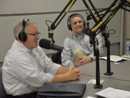 Associate Professor Brian Lower in the Town Hall Ohio radio show studio.