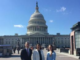 2019 Future Leader in Science Award winner Tania D. Burgos Hernández (center) at the US Capitol Building shown with Gary Pierzynski, associate dean for research and graduate education with the College of Food, Agricultural, and Environmental Sciences and Horticulture and Crop Science undergraduate Rose Vaguedes.