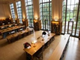 A view of the Grand Reading Room in Ohio State's Thompson Library in Columbus. The library is celebrating the 10-year anniversary of its renovation, which made wide use of oak wood from Ohio. (Photo: University Communications.)