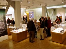 Visitors attend the Building Ohio State exhibit in the university's Thompson Library in Columbus. (Photo: Kenneth Aschliman.)
