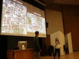 Students presenting their campus monitoring findings of bird-building collisions at the 2018 Ohio Avian Research Conference. Photo credit: Casey Tucker.