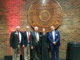 Mark Giese, ENRAS ARO; Kevin McCarty, ENRAS Exec Council; Dr. Robert Roth, SENR Professor and Associate Director, Emeritus; Kristine Mount Staats, recipient of the Josephine Sitterle Failer Award; ENRAS President Matt Perry. Photo credit: Carol Roth