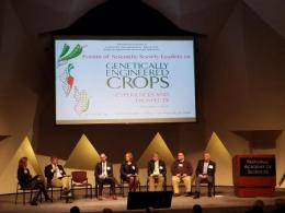 Leaders participate in a forum on genetically engineered crops held at the National Academies of Sciences in Washington, DC.