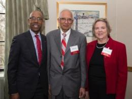 Professor Lal with Ohio State University President Drake and Vice President of Research Caroline Whitacre at the 2016 Faculty Recognition Reception. Photo credit: Jodi Miller