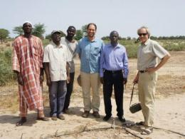 Professor Richard Dick (far right) in Senegal, where his team is partnering with farmers to conduct research on rhizosphere hydrology and microbiology of shrub-intercropping systems (Photo credit: Dam Sy)