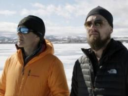 "Actor-activist Leonardo DiCaprio, right, and National Geographic's Enric Sala visit the Arctic in a scene from DiCaprio's ""Before the Flood"" climate change documentary. It screens Jan. 31 in Ohio State's 2017 Environmental Film Series. (Image: National Geographic Channel.)"