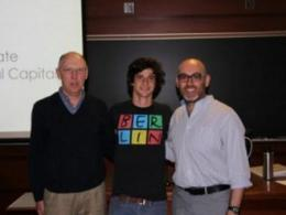 Tal Shutkin (middle) with Horticulture and Crop Science Professor David Barker and School of Environment and Natural Resources Assistant Professor Ramiro Berardo.