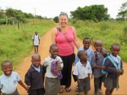 Suzanne Gray with school children from Lake Nabugabo, Uganda.