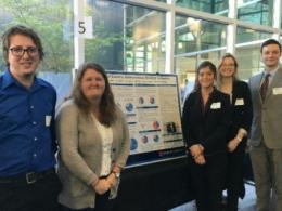 EEDS Capstone students presenting their senior project on autonomous shuttle use in the Easton area at the Environmental Professionals Network breakfast.