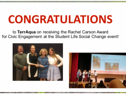 TerrAqua recognized for fforts to improve the environment and educated and empowered others in the community to do the same.